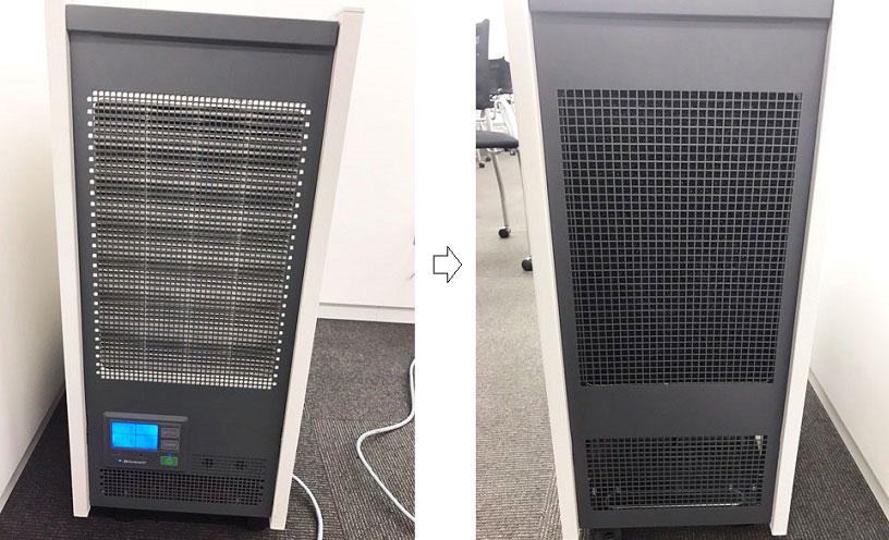 ↑従来(左)は側面下部に操作部を配置。新モデル(右)では操作部を天面に移動し、吸引面を拡大しました