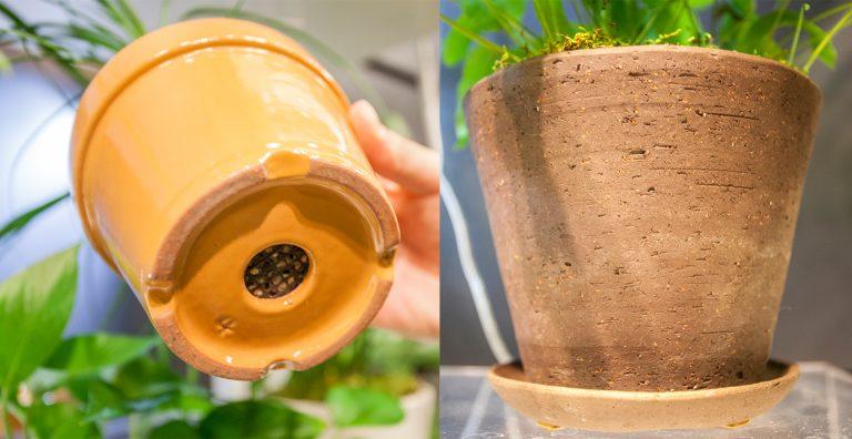 ↑土も呼吸をしなければけないので、鉢は素焼きなどのより自然に近い素材のものを。通気性もよく、植物も上手に育ちます。水をあげ過ぎた時も余分な水分が溜まりっぱなしにならないように、鉢は必ず下に穴の開いているものを選びましょう。