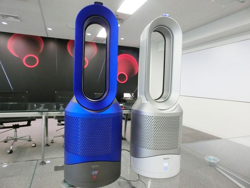 ↑空気清浄機能付ファンヒーター「Dyson Pure Hot+Cool Link」。カラーはブルーとシルバーの2色