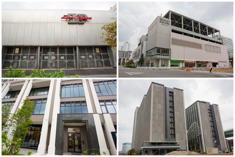 ↑ささしまライブ駅周辺の環境。(左上)Zepp Nagoya、(右上)マーケットスクエアささしま、(左下)ストリングスホテル名古屋、(右下)愛知大学。「ロイヤルパークスERささしま」から徒歩5~7分ほど