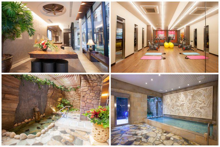 ↑リゾートホテル並の充実した入居者専用施設。(左上)パーティールーム、(右上)フィットネスルーム、(左下)天然ささしま温泉 露天風呂、(右下)大浴場