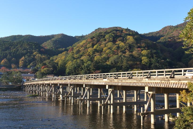↑渡月橋付近の紅葉は例年11月上旬が見ごろ。日中は混むが朝夕は訪れる人も少なめだ