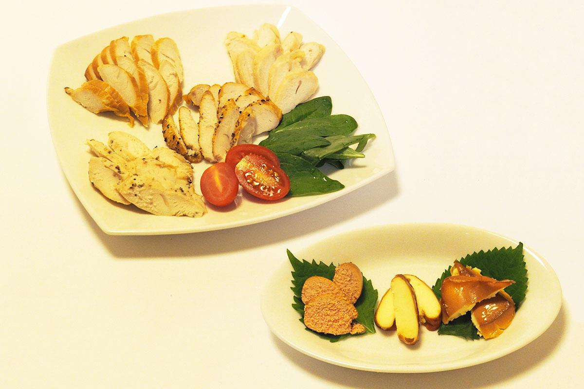 ↑写真手前はタラコ、チーズ、イカを燻製にしたものワインにも日本酒にもピッタリ。写真奥は燻製時間や味付けを変えた4種のささ身の燻製。燻製時間やアレンジで、さまざまな味わいが楽しめるのも自家製の燻製ならでは