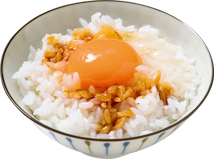 ↑卵かけご飯。黄身はもちろんだが、白身のご飯にからまる質感が絶妙
