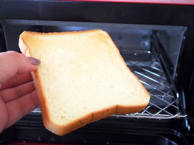 ↑トーストの目安は、過熱パワー「強」、時間は3〜3.5分。こんがり感がなく、トーストとしてはいまいち?