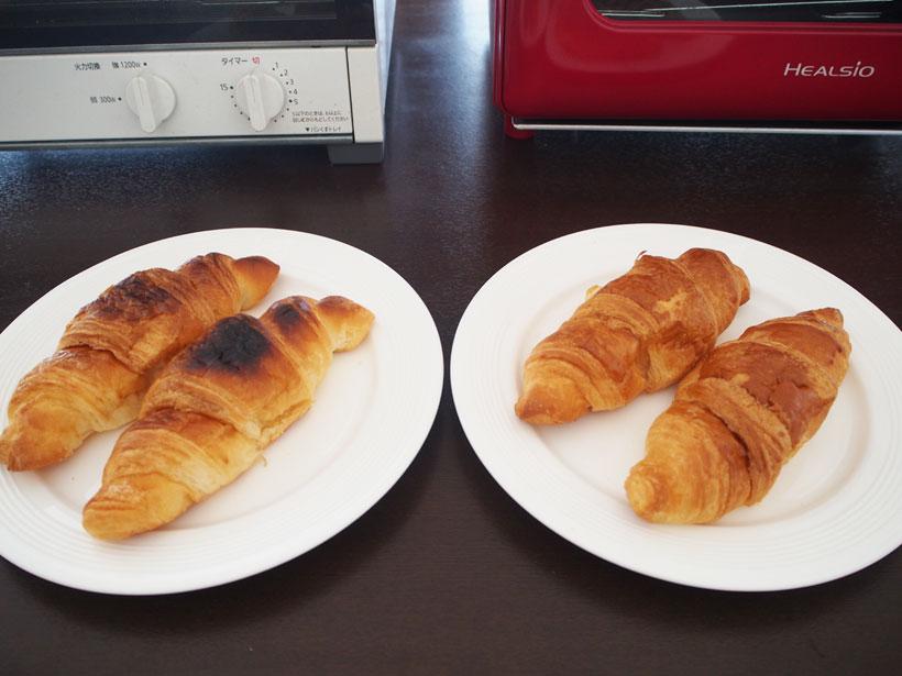 ↑トースターとヘルシオグリエでそれぞれ焼いたところ、トースター(左)のは1分で焦げ目がついてしまいました