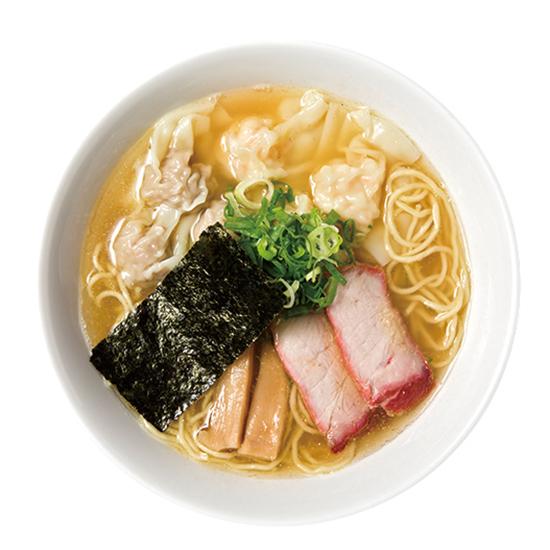 ↑特製ワンタン麺(白だし)(1000円) 同店は専門誌の各賞の上位に必ず食い込むほど、ラーメンの評価も高い。ワンタンは芝海老が入っておりスープとの相性が抜群