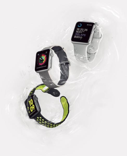 Apple Watch Series 2 4万824円(38㎜)~ 4万4064円(42㎜)~ (写真一番下はナイキコラボモデル)