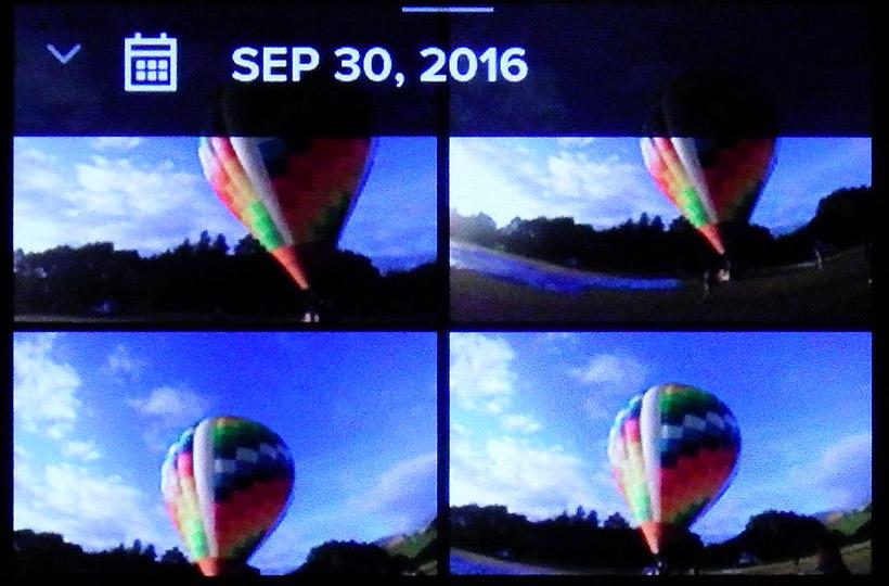 ↑再生画面。撮った静止画と動画が日付順に表示され、タップすると再生されます。静止画のみ、動画のみといった表示も可能です