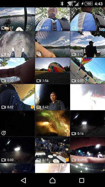 ↑再生画面。撮影したビデオや写真を一覧から選んで再生できます