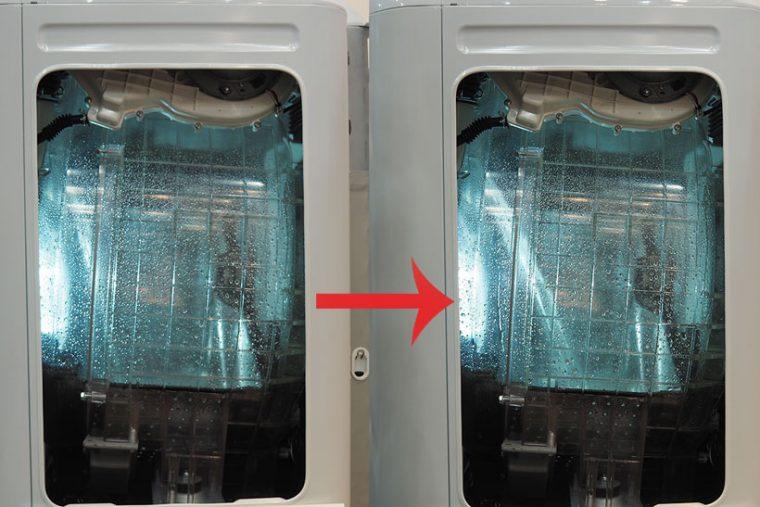 ↑BD-NX120ALの側面を透明にしたカットモデル。流れ落ちる水が、手前から奥に移動しているのがわかります。全体に水をかけることで洗剤を効率よく衣類に浸透させられるそう