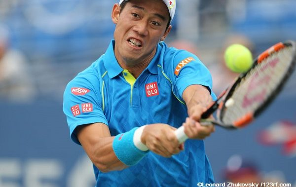 45998846 - new york - august 31, 2015: professional tennis player kei nishikori of japan in action during first round match at us open 2015 at billie jean king national tennis center in new york