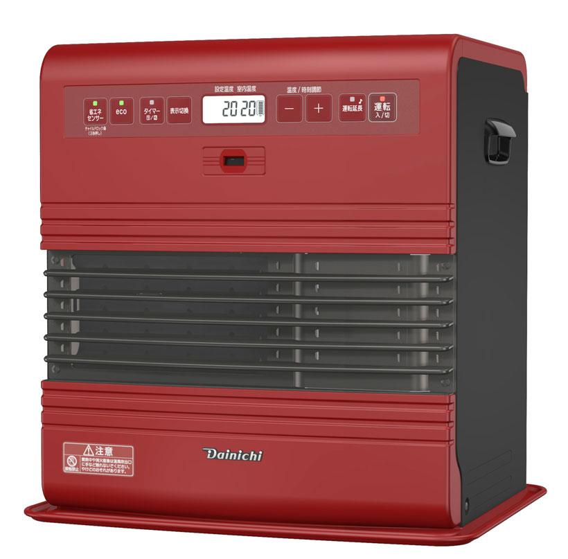 ↑スタイリッシュなツートーンカラーが目を惹く家庭用石油ファンヒーターのハイエンドモデル「FW-3716SDR」。部屋の温度や人の有無で繊細に運転をコントロールし、「快適性」と「省エネ性能」を両立しています