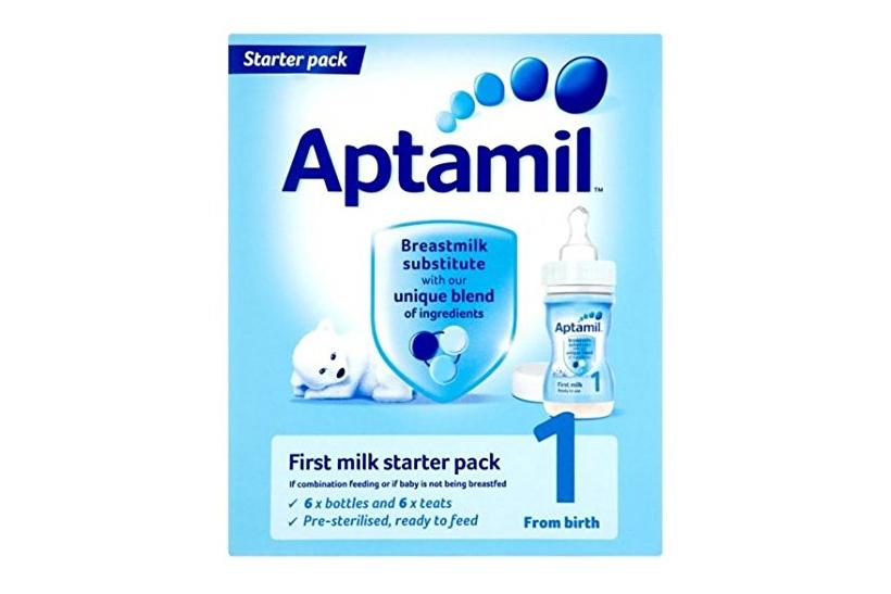 Amazon「Aptamil(アプタミル) スターターパック 液体ミルク6本+専用乳首6個」より。