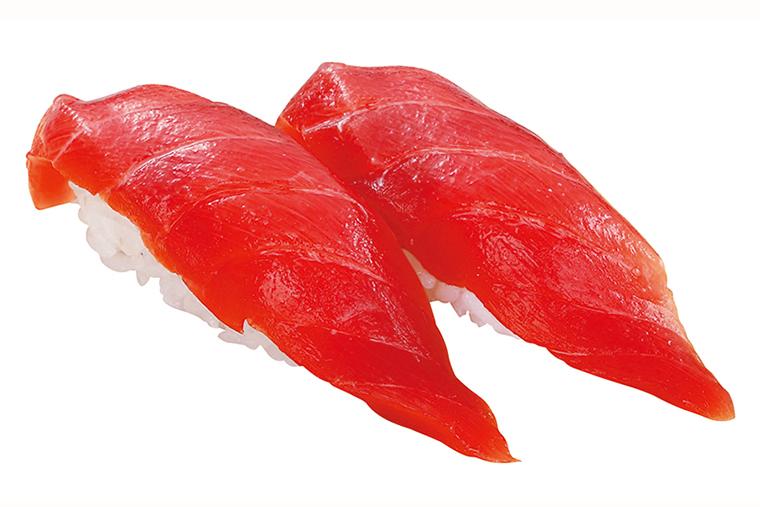 ↑まぐろにぎり/一貫(108円) 赤身の色が鮮やかなばち まぐろを使用。モチモチと した食感でうまみが濃厚 だ。酸味が穏やかで、食べ飽きないおいしさ