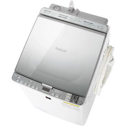 ↑シャープのタテ型洗濯機「ES-PX10A」(実売価格18万1440円)。ハーフミラーのスタイリッシュなデザインが特徴ですが、