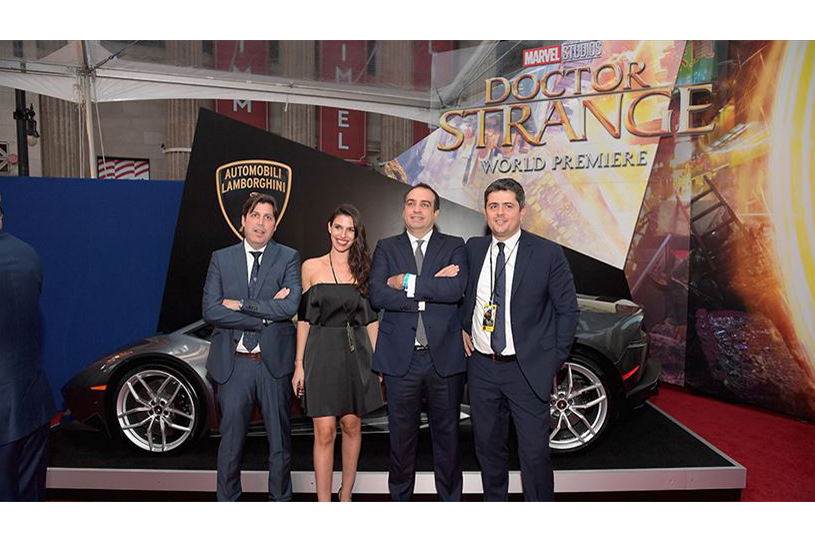 Lamborghini Stars on red carpet with ________ at Marvel Studios' Doctor Strange, in US theaters Nov. 4, at El Capitan Theatre on October 20, 2016.