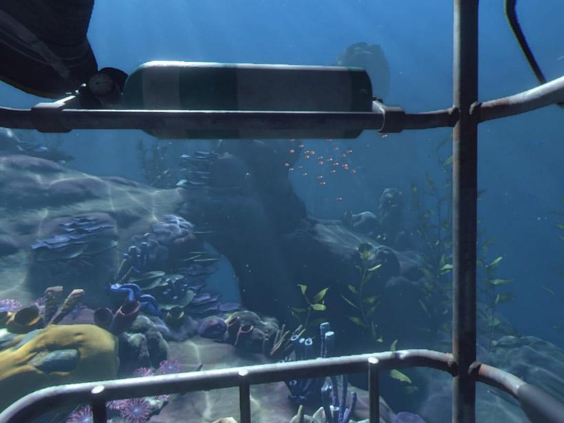 ↑海中を潜って探索する「Ocean Desent」