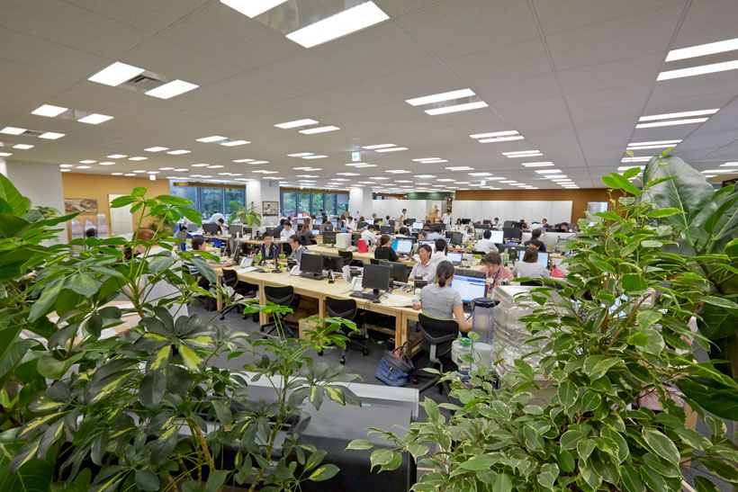 ↑オフィスに多くの観葉植物を置いているのは「自分だったらこんなオフィスで働きたい」という萩尾社長のアイデア。鮮やかな緑や季節の花を配することで、常に自然を意識させ、商品である清冽な水をイメージさせる効果もある。植物のレイアウトや季節の花を毎週変えているのは、社員が四季を感じ、植物の変化に気づく感性を持ってほしいからだとか