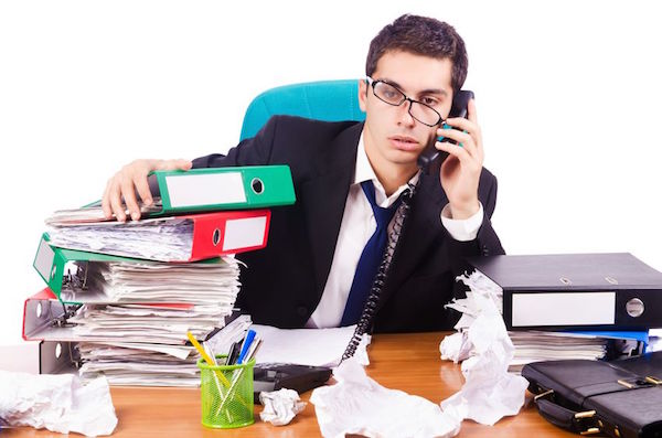 16754642 - busy stressed man in the office