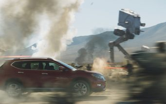 """NASHVILLE, Tenn. (Oct. 27, 2016) - Nissan today unveiled expanded details of its new promotional campaign in support of the upcoming film """"Rogue One: A Star Wars Story."""" The newly revised 2017 Nissan Rogue compact SUV is the centerpiece of the fully integrated campaign that features Star Wars-themed TV ads, social and experiential content. As one of five global brands joining with Lucasfilm to launch promotional campaigns for the first-ever standalone Star Wars story, Nissan also debuted today a numbered, limited-edition, full-sized-replica Death Trooper helmet that comes with purchase of the previously announced 2017 Nissan Rogue: Rogue One Star Wars Limited Edition vehicle."""