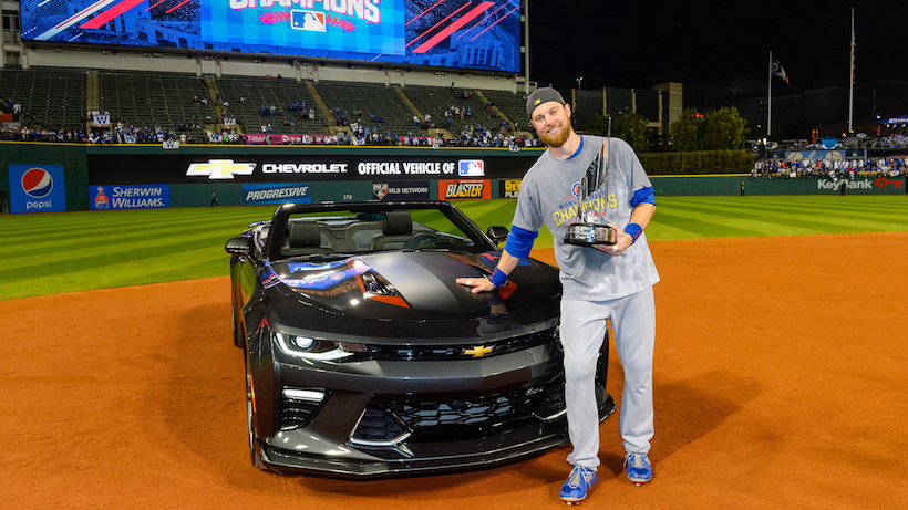 Major League Baseball's 2016 World Series Most Valuable Player and Chicago Cubs' Outfielder Ben Zobrist is presented with a 2017 Chevrolet Camaro SS 50th Anniversary Edition in the early hours of Thursday, November 3, 2016 after the Cubs defeated the Cleveland Indians 8-7 in extra innings of Game 7 at Progressive Field in Cleveland, Ohio. Chevrolet is the Official Vehicle of MLB. (Photo by Ron Vesely/MLB Photos  for General Motors)