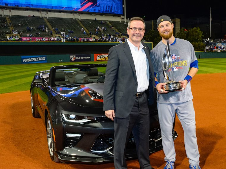 Major League Baseball's 2016 World Series Most Valuable Player and Chicago Cubs' Outfielder Ben Zobrist (right) is presented with a 2017 Chevrolet Camaro SS 50th Anniversary Edition from U.S. Vice President Chevrolet Marketing Paul Edwards in the early hours of Thursday, November 3, 2016 after the Cubs defeated the Cleveland Indians 8-7 in extra innings of Game 7 at Progressive Field in Cleveland, Ohio. Chevrolet is the Official Vehicle of MLB. (Photo by Ron Vesely/MLB Photos for General Motors)