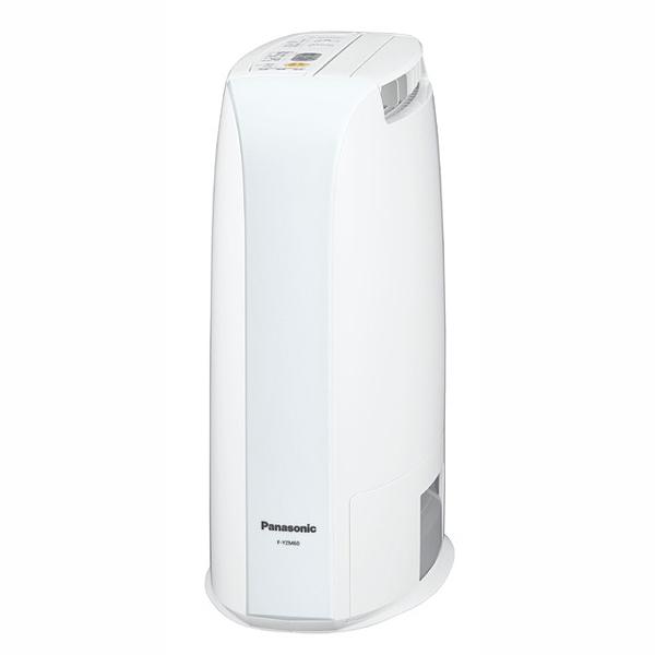 ↑デシカント式の除湿機、パナソニック「F-YZM60」(実売1万5930円)。ワイド送風で幅広く干した洗濯物にもしっかり対応します