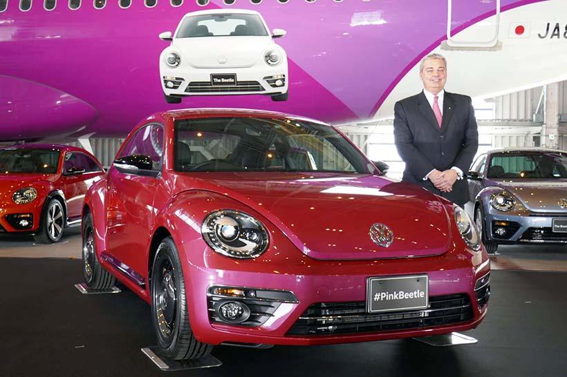 ↑新型「ザ・ビートル」をベースに専用色を施した特別仕様車「#PinkBeetle」