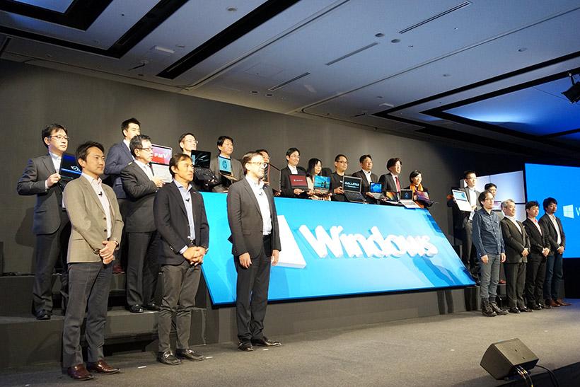 ↑VAIOや富士通、パナソニックなどの国内PCメーカーから、AUSUやHUAWEIなどの海外メーカーなどの代表が一堂に会し、マイクロソフトとの協業をアピール
