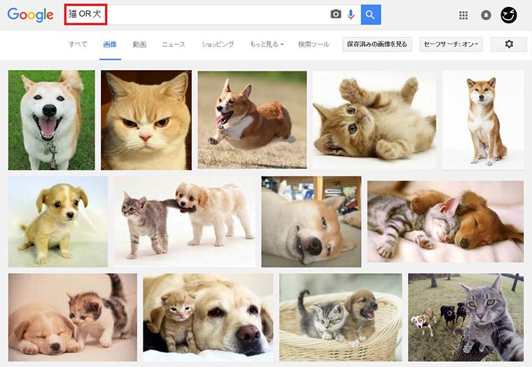 ↑「猫 OR 犬」で画像検索。キーワードのどちらかを含むページがヒット