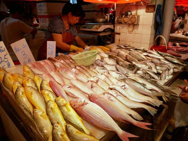 ↑魚介類などの生鮮食品を扱う公設市場「紅街市」。 周辺には昔ながらの街が広がり、ローカルフードも食べられる。市場に並べられた魚の光沢がりあるに映し出された(LUMIX G VARIO 12-60mm/F3.5-5.6使用、ISO200、1/160秒、F4.5、+0.3補正)