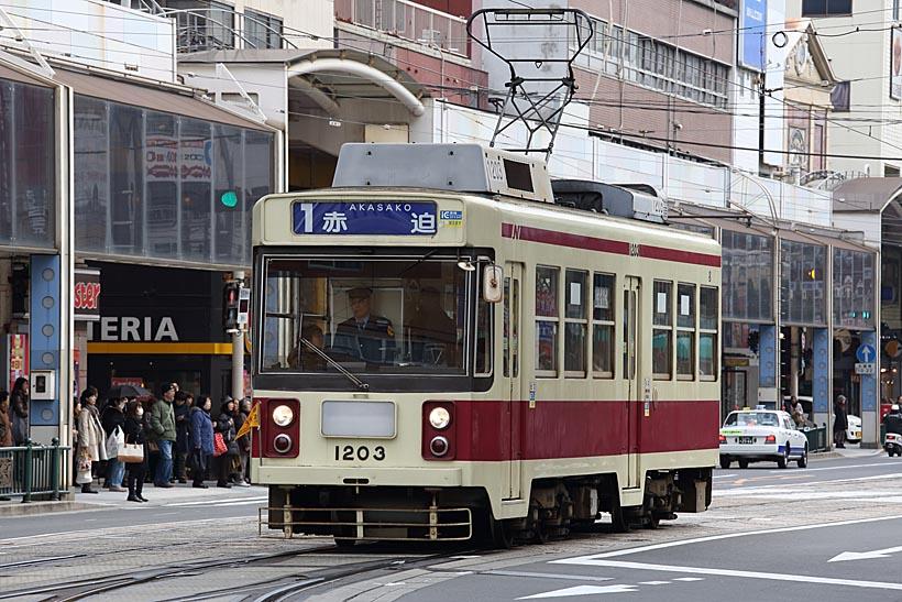 ↑1982年に導入された1200A形。西鉄北九州線の600形の機器を流用して造った車両だ
