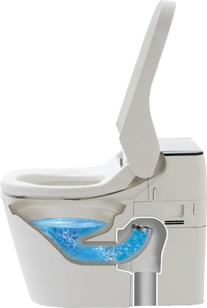 ↑トイレを使っていない時はパイプが上を向いており便器に水をためています