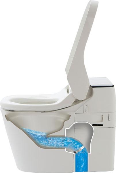 ↑水を流すとパイプが下に向くので、大量の水がなくても自然と流れていきます