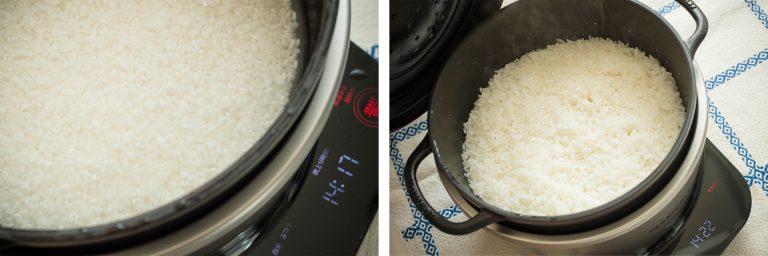 """↑炊飯まで置いておかなければいけない""""浸水""""も、「ライスポット」が自動で行ってくれるので簡単。炊き上がりもふっくら!"""
