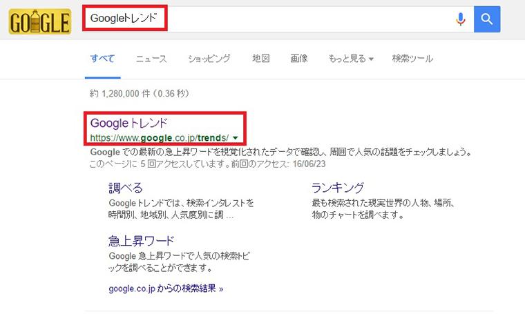 ↑「Googleトレンド」をクリックします