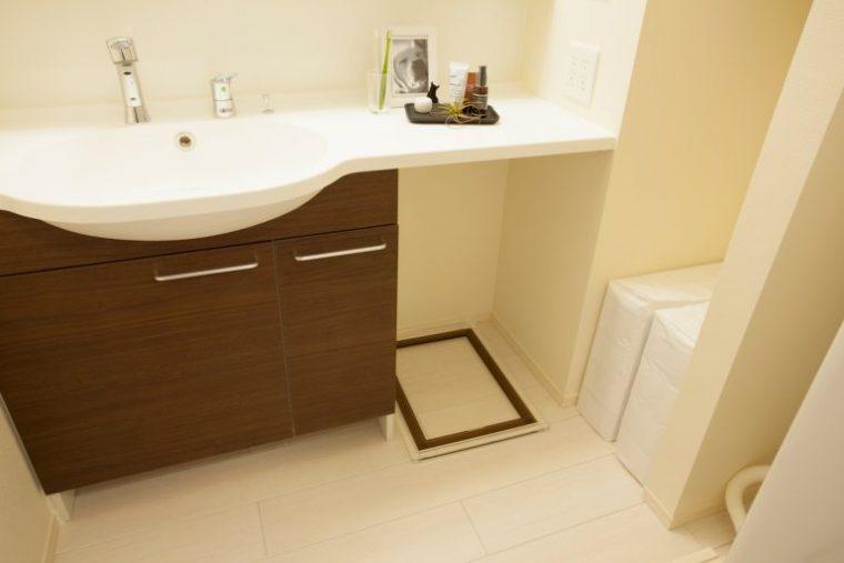 ↑犬のトイレは洗面台の下に配置できるようにスペースを確保してありました。床は粗相をしても掃除がしやすく、匂いが気にならない素材を使っているそう