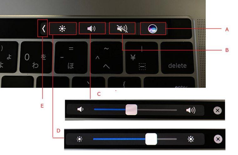 ↑(A)Siriが起動する(B)消音のオン・オフ切り替え(C)スライダで音量の調整(D)スライダで画面の明るさの調整(E)隠れているボタンが表示される