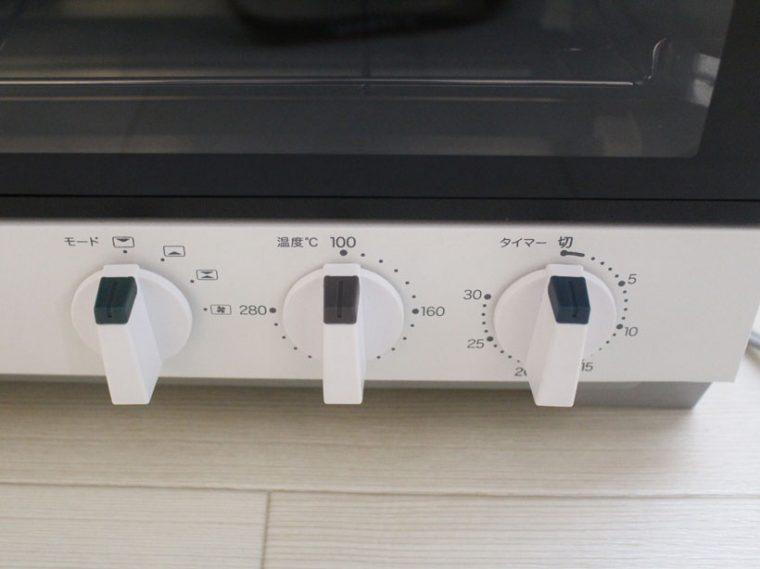 ↑操作はすべてダイヤル式で簡単。温度は100~280℃、時間は30分まで選べます
