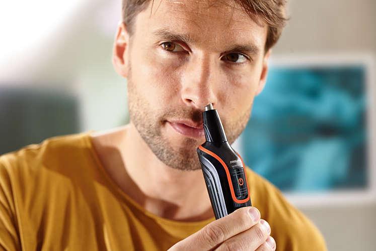 ↑鼻や耳のムダ毛も手軽に取り除けます。トリマー本体は水洗い可能