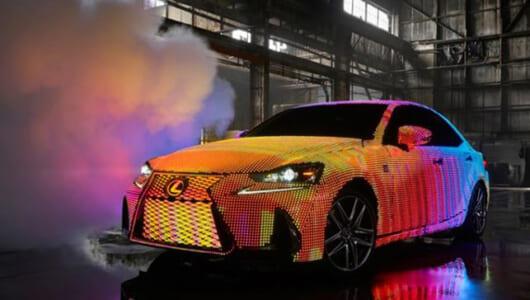 レクサス新型「IS」を4万2000個のLEDでド派手にカスタム! 英アーティストのMVに登場