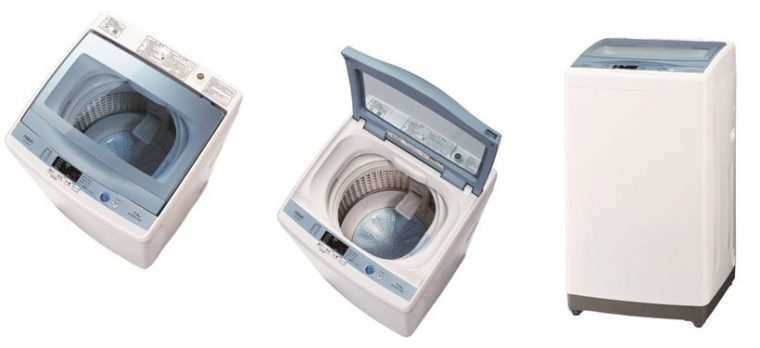 ↑【SPEC】●サイズ/質量:W525×H980×D575㎜(幅・奥行きは排水ホース含む)/約33kg●洗濯・脱水容量:7kg●標準使用水量:洗濯時(定格)約113L●水量:55~15L●標準コース運転:目安時間(50/60Hz)約37分●定格消費電力(50/60Hz):320W/380W●消費電力量(50/60Hz):90Wh/110Wh●運転音(洗い/脱水):約42dB/約51dB
