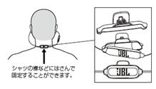 ↑取り外し可能なネッククリップでケーブルを襟元に固定できます