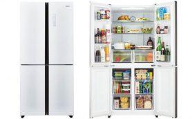 ドアに一升瓶も収納できる! フラットなガラスドアがバカっと開く468Lの大容量冷蔵庫