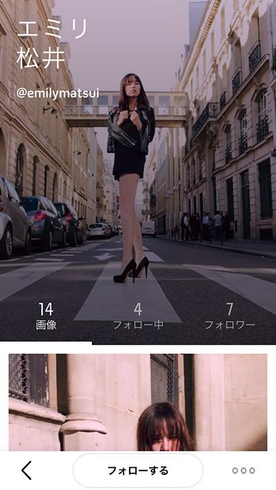 ↑モデルの松井エミリとパートナーシップを結んでおり、彼女が撮影したポラロイド・スイングが公開されている