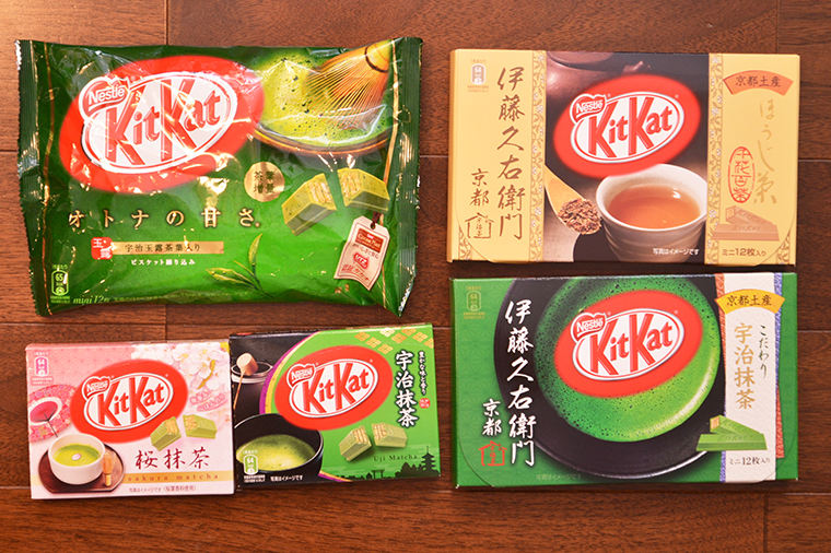 ↑左上が「オトナの甘さ 抹茶」。そのほかにもお茶を使った限定商品は多数展開されました