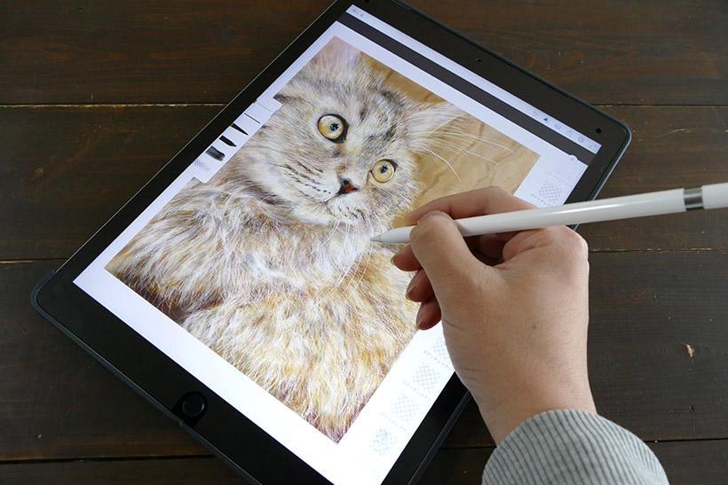↑iPad ProはApple Pencilを利用可能(写真は指紋防止用フィルム付き)