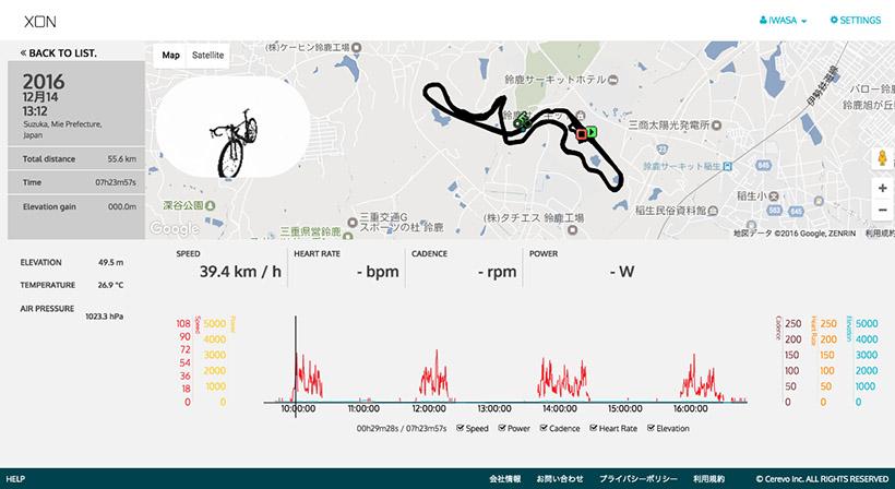 ↑走行ルートや速度などの走行データをWEBで確認・管理できます