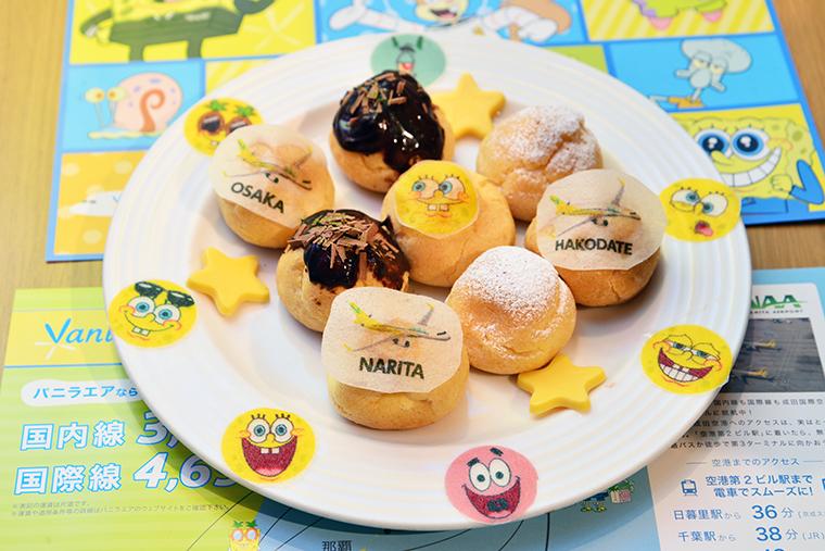 ↑函館の粉雪と、大阪のたこ焼きをイメージしたシュークリーム。粉雪は粉砂糖で、たこ焼きのソースやトッピングはチョコレートで再現されています